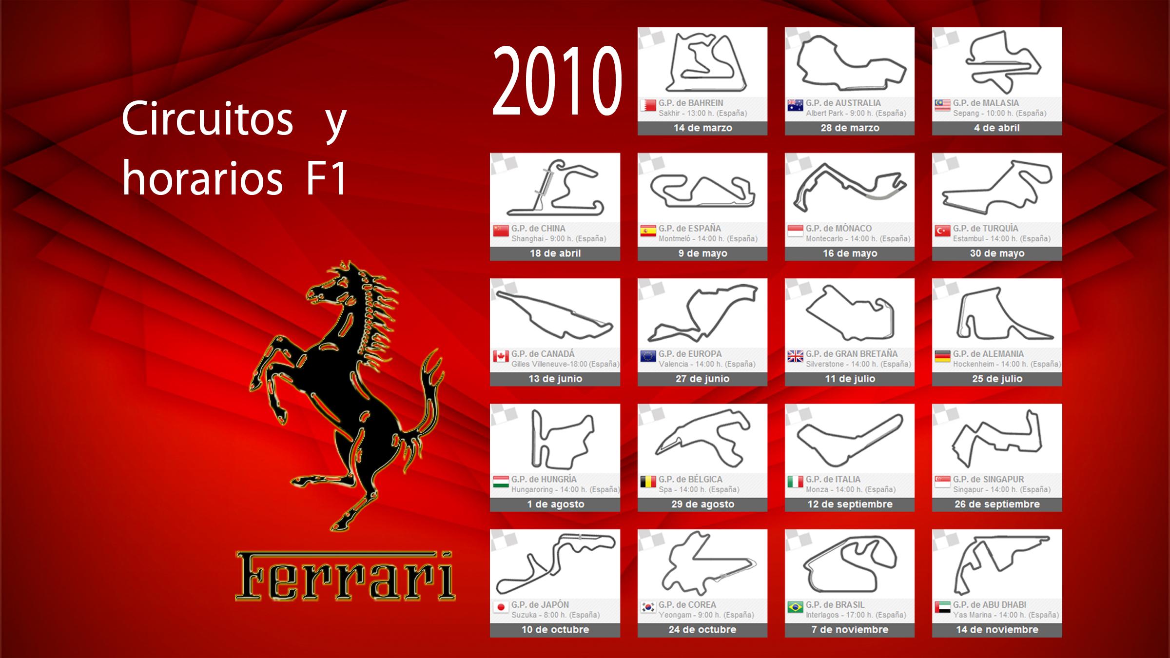 Calendario Formula1.Calendario F1 2010